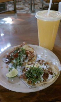 tacos al pastor and a fresh orange juice, USD $3.50, El Centro