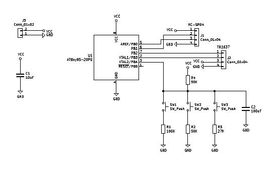Sonic Anemometer Schematic ATTINY85
