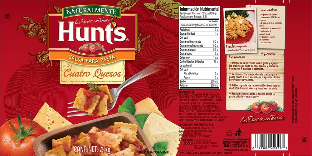 Etiqueta Salsa para pasta Hunt's