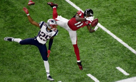 Julio Jones with a catch for Falcons versus Patriots in Super Bowl during 2016 season