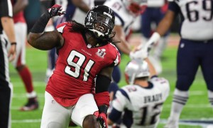 Courtney Upshaw celebrates sack of Tom Brady in 2017 Super Bowl matchup between Falcons and Patriots