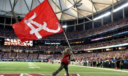 Big AL waving the Alabama flag at SEC title game
