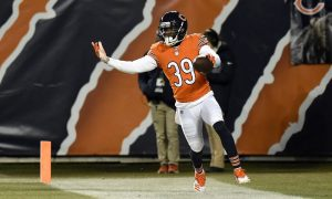 Eddie Jackson celebrates interception return for a touchdown for Bears in 2018 season