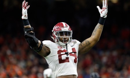 Terrell Lewis celebrating a play in the 2018 Sugar Bowl