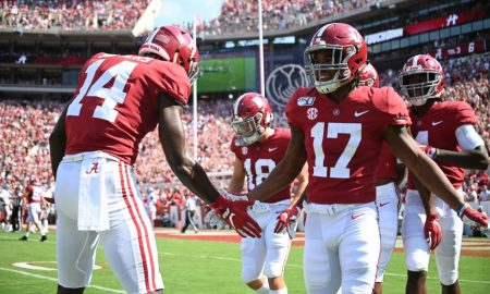 Alabama WR Jaylen Waddle celebrates TD versus Ole Miss in 2019 season