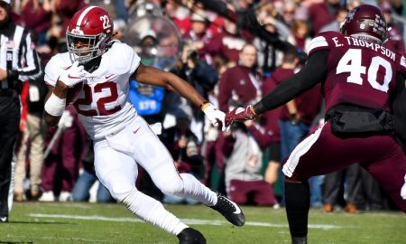 Najee Harris runs ball versus Mississippi State in 2019