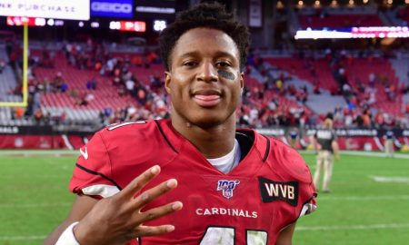 Kenyan Drake celebrates a rushing touchdown for Arizona Cardinals in 2019 season