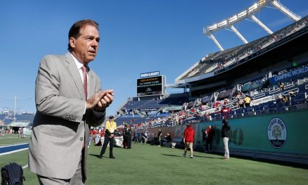 Nick Saban walks to sideline before Citrus Bowl