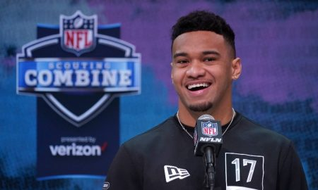 Tua Tagovailoa smiles during NFL Combine Interview
