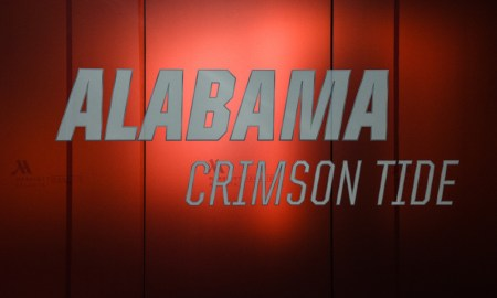 Alabama football logo at Atlanta Marriott Marquis Hotel prior to 2018 CFP title game versus Georgia