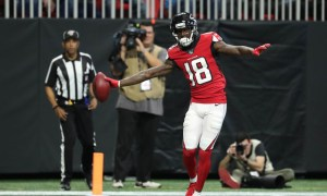 Calvin Ridley of the Atlanta Falcons scores a TD versus Carolina Panthers in 2019 season