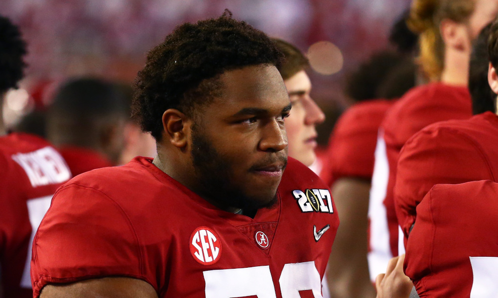 Chris Owens looks on from Alabama sideline in 2017 CFP National Championship against Clemson