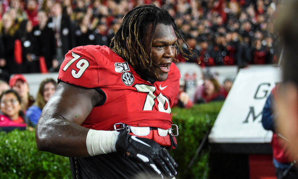Georgia OT Isaiah Wilson on the bench versus Texas A&M in 2019 game