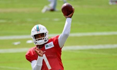 Tua Tagovailoa throws the ball at Miami Dolphins' 2020 training camp