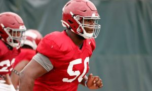 Tim Smith (No. 50) running at Alabama's fall camp in 2020