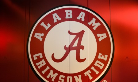 Alabama Crimson Tide logo at the Atlanta Marriott Marquis Hotel for 2018 CFP National Championship vs. Georgia