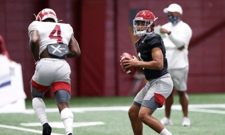 Bryce Young holds ball in the pocket at Alabama fall camp