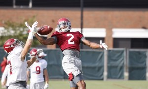 Patrick surtain disrupts a pass at Alabama Monday practice