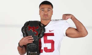 Alabama 4-Star S target Sage Ryan holding Alabama belt