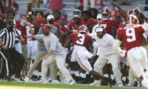 Daniel Wright (No. 3) returns interception for touchdown versus Texas A&M