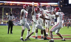 DeVonta Smith and John Metchie celebrate Smith's TD versus Ole Miss