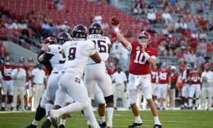 Mac Jones tosses pass of the middle against Texas A&M
