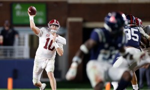 Mac Jones throws a pass versus Ole Miss