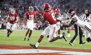 DeVonta Smith catches a touchdown pass versus Miss. State