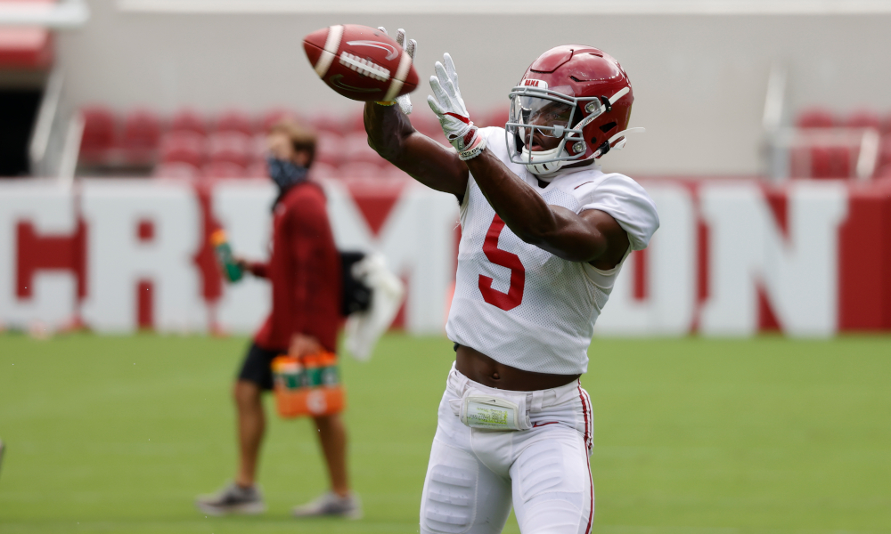 Javon Baker with a catch at Alabama fall camp