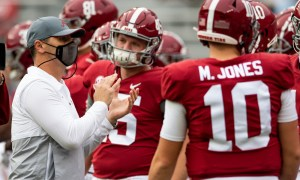 Steve Sarkisian operating as head coach for Alabama in Iron Bowl with Nick Saban in quarantine from COVID-19