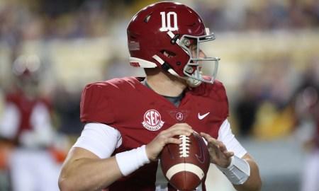 Alabama quarterback Mac Jones throws the football against LSU