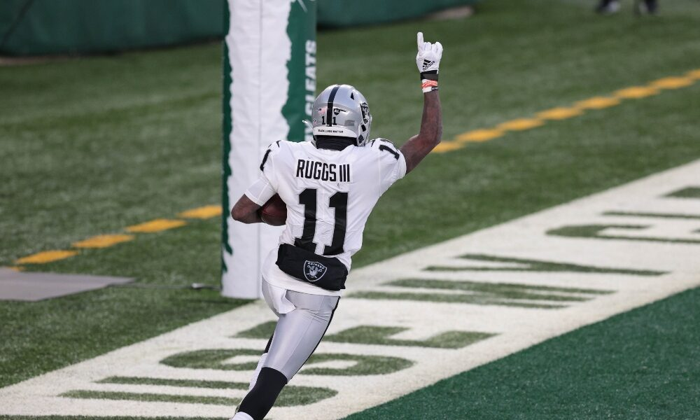 Henry Ruggs celebrates a touchdown catch against the Jets