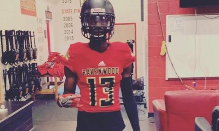 Myles Pollard poses for picture in Ravenwood jersey