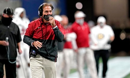 Nick Saban on the sideline for Alabama in fourth quarter of SEC title game