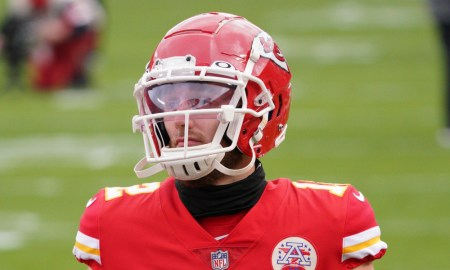 Gehrig Dieter in warmup for Chiefs before AFC Divisional playoff game versus Browns