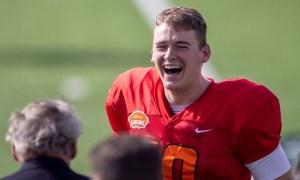 Mac Jones having fun at Reese's Senior Bowl