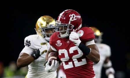 Alabama RB Najee Harris carries the football in The Tide's Rose Bowl win