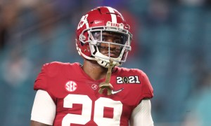 DeMarcco Hellams on the field for Alabama versus Ohio State in 2020 CFP title game