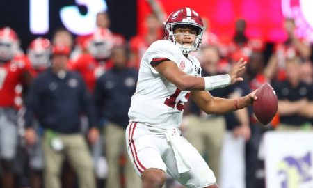 Tua Tagovailoa throws touchdown pass against Georgia in national championship