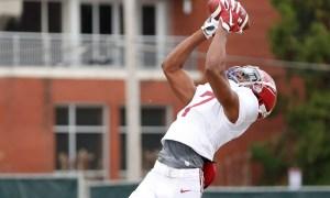 jacorey brooks catching the football at Alabama spring practice