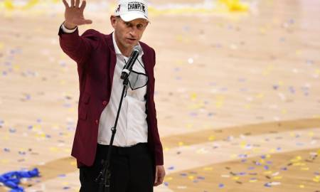 Alabama head coach Nate Oates addresses the crowd after their 80 to 79 win against LSU in the SEC Men's Basketball Tournament Championship game