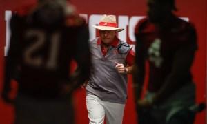 Nick Saban coming out to indoor facility to coach Alabama spring practice