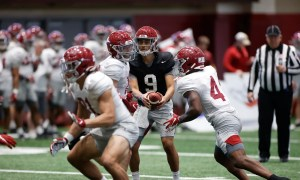 Alabama football offense practices for first scrimmage at spring practice