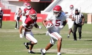 Javon Baker scores a touchdown at Alabama's scrimmage