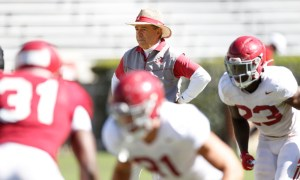 Nick Saban during the first scrimmage