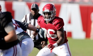 Ian Jackson during Alabama spring practice.