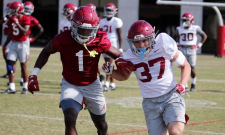 Ga'Quincy McKinstry (No. 1) at spring practice for Alabama