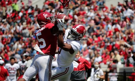 Jalyn Armour-Davis (No. 5) records pass breakup against Javon Baker (No. 5) in Alabama's 2021 spring game