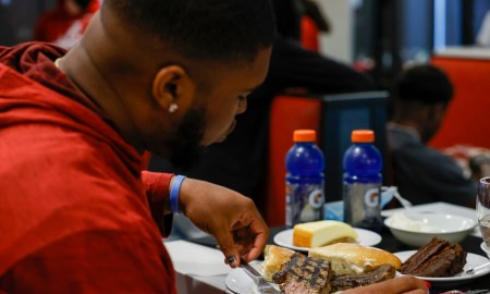 Emil Ekiyor east stek at Alabama Football steak and beans dinner