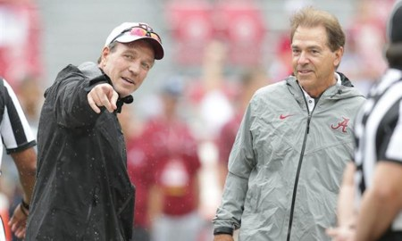 Nick Saban and Jimbo Fisher talking before Alabama-TAMU game in 2018